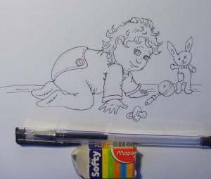 дети нарисованные карандашом