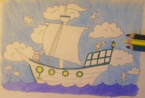 нарисовать кораблик поэтапно