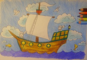нарисовать кораблик карандашом