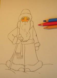 как рисовать Деда Мороза