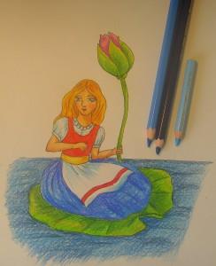 нарисовать дюймовочку карандашом
