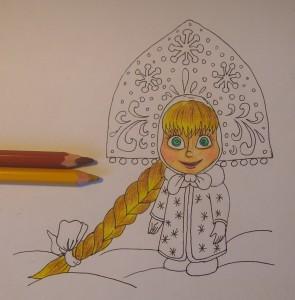 как нарисовать Машу карандашом