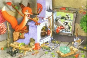 заяц, лиса, лубяная избушка