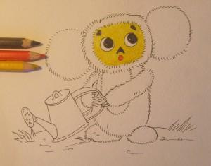 как нарисовать чебурашку поэтапно карандашом