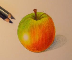 как нарисовать яблоко карандашом