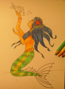 как нарисовать русалку поэтапно карандашом