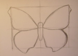 нарисовать бабочку поэтапно карандашом