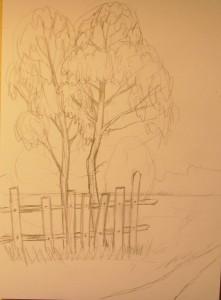 как нарисовать осенний пейзаж поэтапно для начинающих