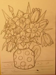 как нарисовать вазу с цветами