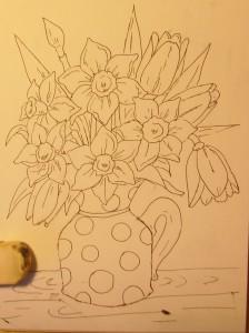 как нарисовать вазу с цветами поэтапно