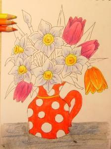 как нарисовать вазу с цветами карандашом