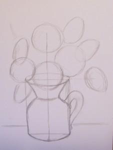 вазу с цветами рисунок
