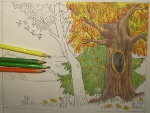как нарисовать золотую осень карандашом