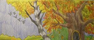 как нарисовать золотую осень