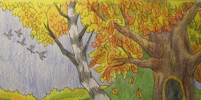 Рисунки на тему золотая осень поэтапно