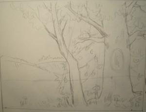 как нарисовать золотую осень карандашом поэтапно