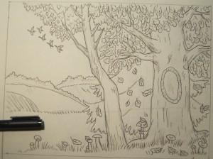 Нарисовать рисунок карандашом золотая осень