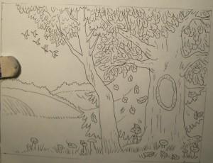 как нарисовать золотую осень поэтапно