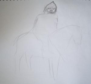 260Богатырь на коне на рисовать