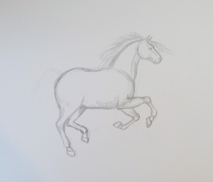 рисунок бегущего коня
