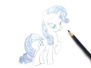 как нарисовать пони Рарити карандашом поэтапно