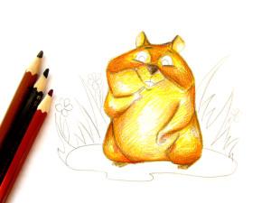 как нарисовать хомяка карандашом