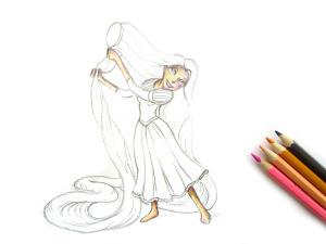 как нарисовать Рапунцель