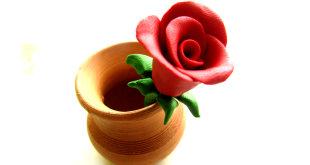 как слепить розу из пластилина