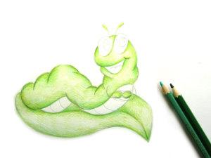 как нарисовать гусеницу