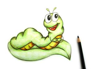 нарисовать гусеницу карандашом